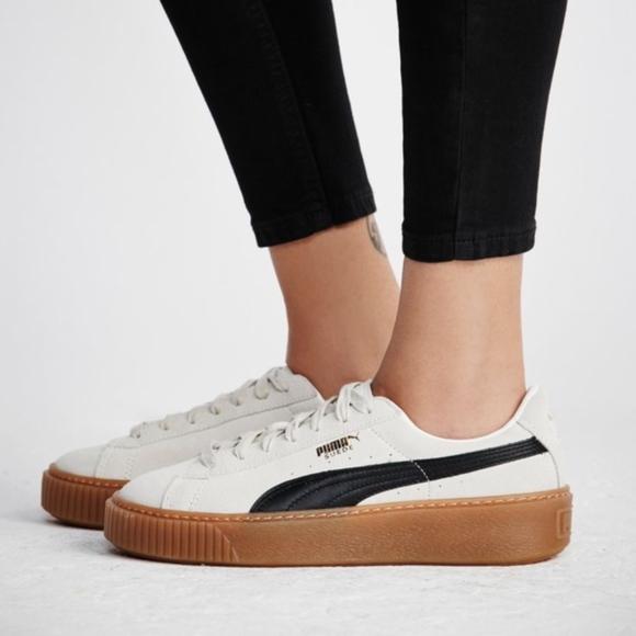 PUMA white Suede Platform Core sneakers